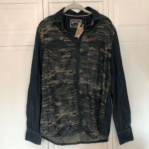 Men's Camo Denim Button Up Shirt